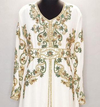 Off White luxurious Moroccan Kaftan with Gold and Contrast work