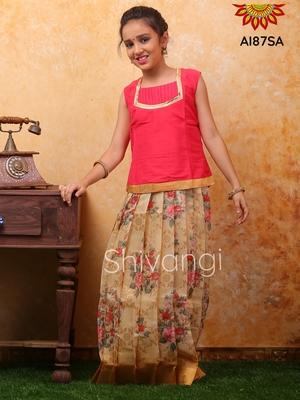 Shivangi Digital print Jacquard Pavadai Set/Lehenga !!! – AI87SA