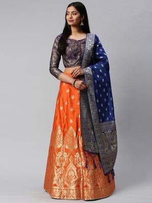Red woven art silk semi stitched lehenga