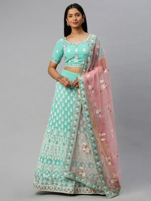 Turquoise embroidered georgette semi stitched lehenga