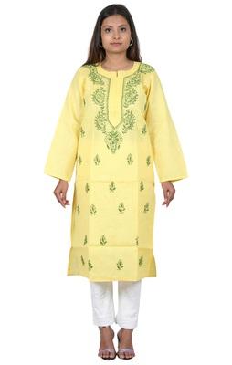 Lavangi Women's Lucknow Chikan Handicraft Ghaaspatti Work Khadi Cotton Kurti (Yellow)