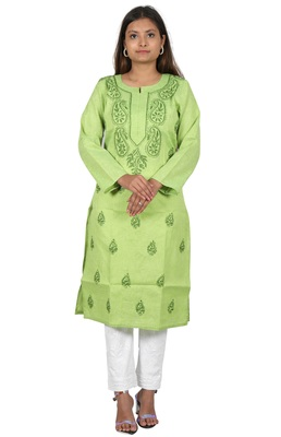 Lavangi Women's Lucknow Chikan Handicraft Ghaaspatti Work Khadi Cotton Kurti (Green)