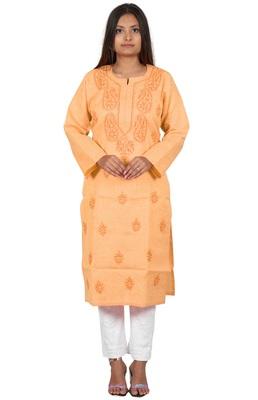 Lavangi Women's Lucknow Chikan Handicraft Ghaaspatti Work Khadi Cotton Kurti (Peach)