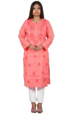 Lavangi Women's Lucknow Chikan Handicraft Ghaaspatti Work Khadi Cotton Kurti (Gajiri)