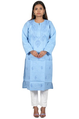Lavangi Women's Lucknow Chikan Handicraft Ghaaspatti Work Khadi Cotton Kurti (Sky Blue)