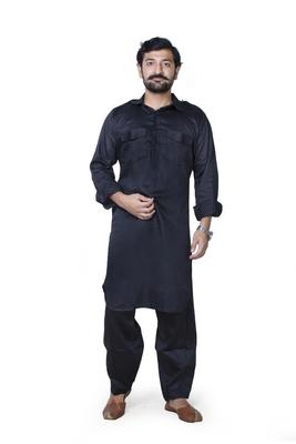 Black plain cotton pathani-suits