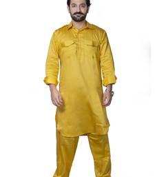 Yellow plain cotton pathani-suits