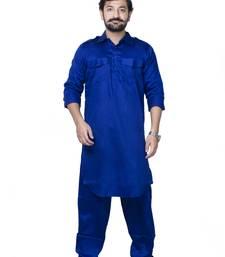 Blue plain cotton pathani-suits