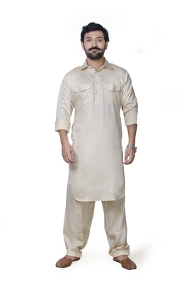 Beige plain cotton pathani-suits