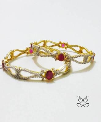Pink CZ Stones Bangles
