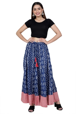 Blue embroidered cotton skirts