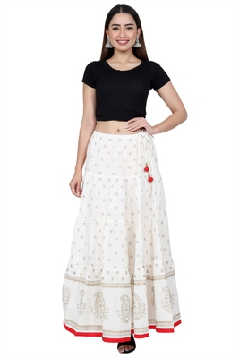 White embroidered cotton skirts
