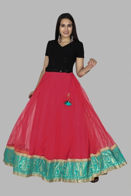 Red embroidered cotton skirts