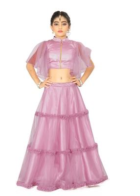 Kids Lavender Wedding Wear Readymade Lehenga Choli For Girls
