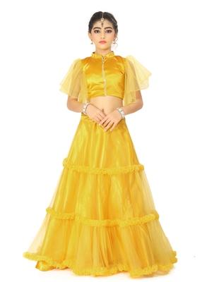 Kids Yellow Full Readymade Lehenga Choli For Girls