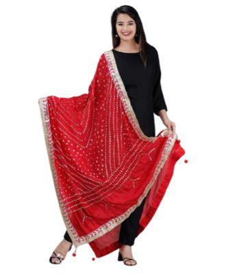 Mukta Fashion Jaipur Women's Solid Straight Kurta Pant with Silk Bandhej Dupatta Set-Black