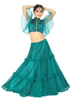 Kids Rama Wedding Wear Lehenga Choli For Girls