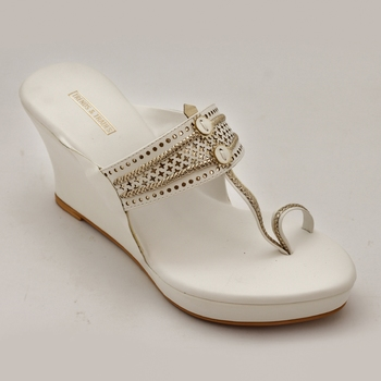 White Laser Cut Faux Leather Kolhapuri Wedges For Women By Trends & Trades