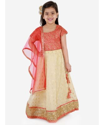 KID1 SERENA GOLD THREAD EMBROIDERED TOP WITH JAQUARD LEHENGA AND NET  DUPATTA
