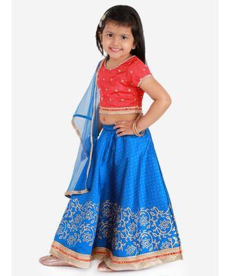 KID1 ROSA BLUE SHORT CHOLI  WITH GOLD PRINT LEHENGA AND NET DUPATTA