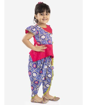 KID1 Anaya peplum top with bandhani print dhoti