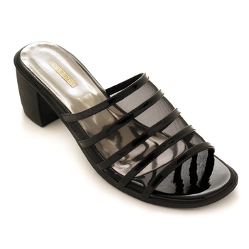 Black Transparent Block Heels For Women By Trends & Trades