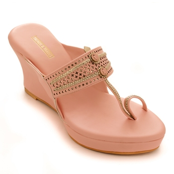 Pink Laser Cut Faux Leather Kolhapuri Wedges For Women By Trends & Trades