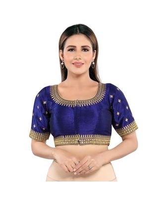 Muhenera Mulbury Silk Padded Round Neck Navy-Blue Blouse