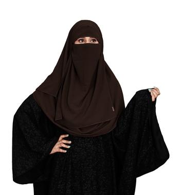 JSDC Women Daily Wear Islamic Plain Instant Hijab + Niqab Style Bubble Georgette Veil Scarf