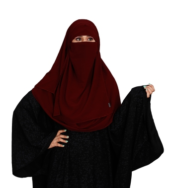 JSDC Women Outdoor Wear Islamic Plain Instant Hijab + Niqab Style Bubble Georgette Veil Scarf