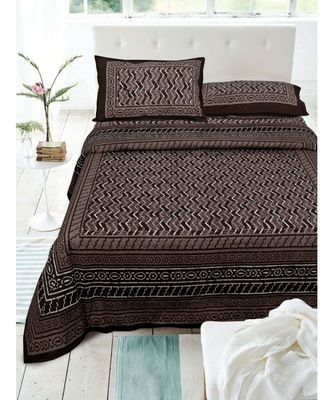 COTTON BROWN DABU PRINT  DOUBLE BED KING SIZE BED SHEET WITH PILLOW COVER