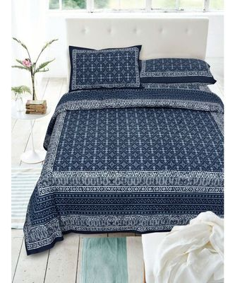 COTTON GREY  DABU PRINT  DOUBLE BED KING SIZE BED SHEET WITH PILLOW COVER