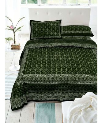 COTTON GREEN  DABU PRINT  DOUBLE BED KING SIZE BED SHEET WITH PILLOW COVER