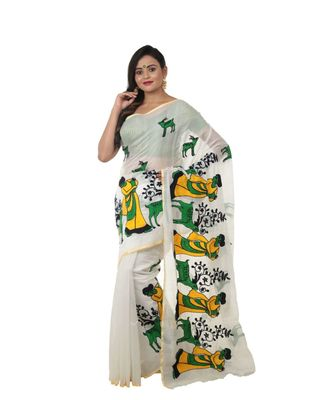 Martliner Self Design Solid Woven Tant Cotton Silk Saree