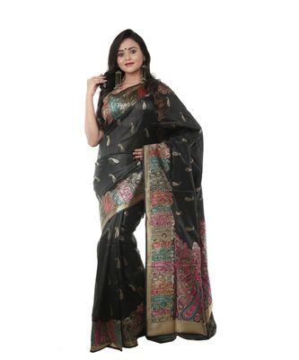 Martliner Self Design Solid Woven Bollywood Art Silk Saree