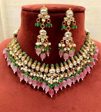 Pink kundan necklace-sets