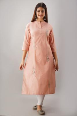 Peach Colored Designer Woven Cotton Fabric Kurti With Adda Work Allover