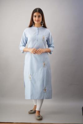 Blue Colored Designer Woven Cotton Fabric Kurti With Adda Work Allover