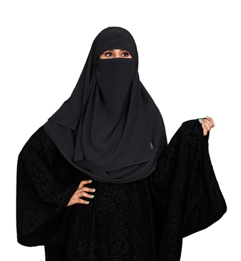 JSDC Women Occasion Wear Islamic Plain Instant Hijab + Niqab Style Bubble Georgette Veil Scarf