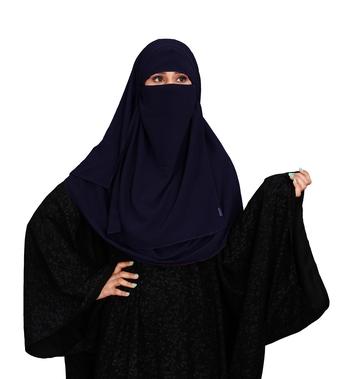 JSDC Women Casual Wear Islamic Plain Instant Hijab + Niqab Style Bubble Georgette Veil Scarf