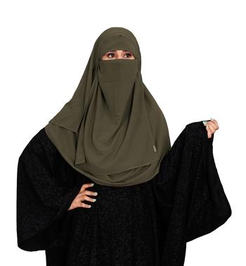JSDC Women Party Wear Islamic Plain Instant Hijab + Niqab Style Bubble Georgette Veil Scarf