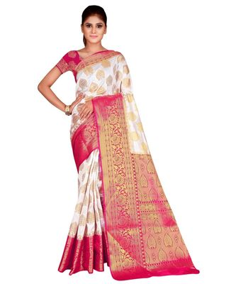 white  Banarasi Silk Jacquard Saree With Blouse Piece
