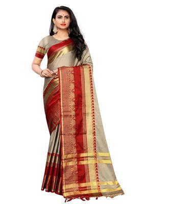 Prijari Khaki Banarasi Art Silk saree With Blouse Piece (Khaki)