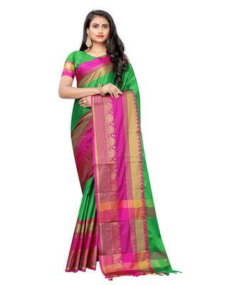 Prijari Green Banarasi Art Silk saree With Blouse Piece (Green)