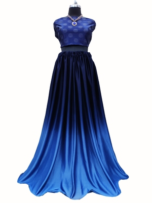 Royal-blue screen print art silk unstitched lehenga