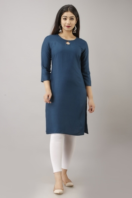 UseCart WOMEN SOLID STRAIGHT RAYON KURTA AND KURTI SEA BLUE