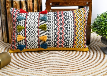MULTI COLOURED HAND BLOCK PRINTED CUSHION COVER WITH MULTICOLOUR TASSELS