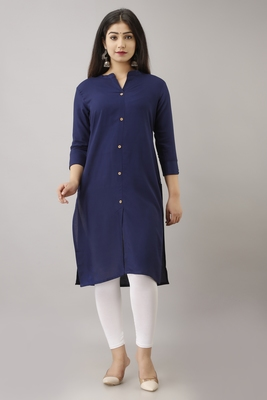 WOMEN SOLID STRAIGHT RAYON KURTA AND KURTI NAVY BLUE