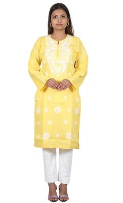 Lavangi Women's Lucknow Chikan Embroidery Work Khadi Cotton Kurti (Yellow)
