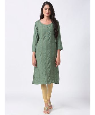ETHNICITY VISCOSE SHANTOON STRAIGHT SAPGREEN KURTA